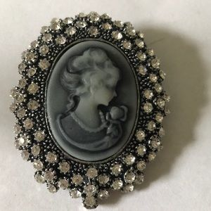Rhinestone raisin cameo brooch